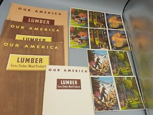 1940's Coca Cola OUR AMERICA LUMBER Instruction Books Student Manual & Stickers