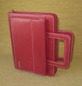 Classic Franklin Covey Red Sim Leather 1 125 Rings Planner binder W Handles