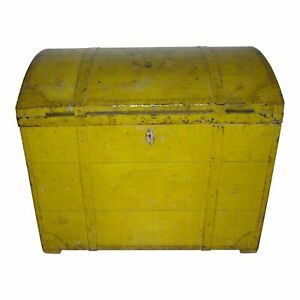 19th Century Painted Dome Top Blanket Chest Trunk