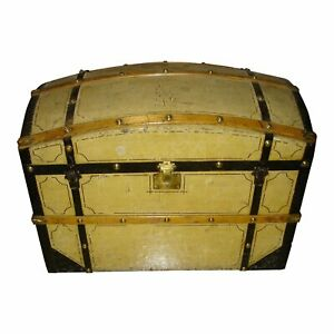19th Century Painted Barrel Dome Top Blanket Trunk Chest