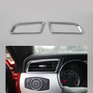 2x Left Right Air Conditioning Vent Ring Trim For Ford Mustang 2015 19 Chrome