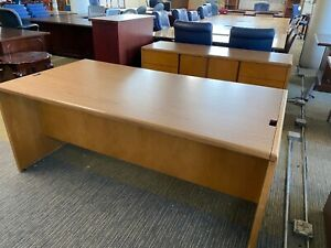 Desk Credenza Set By Kimball Office Furniture In Light Cherry Laminate