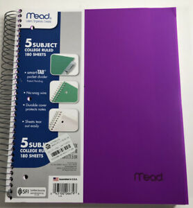 Mead College Ruled 5 subject 180 Sheets Notebook Divider Varying Colors New