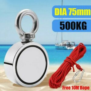 500kg Fishing Magnet Double Sided Round Recovery Salvage Neodymium With 10m Rope