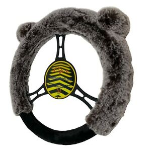 Faux Fur Steering Wheel Cover Universal Fit With Cute Animal Bear Ears Warm Grey