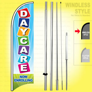 Daycare Now Enrolling Windless Swooper Flag Kit 15 Feather Banner Sign Bb h