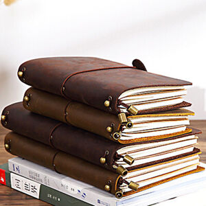 Cowhide Crazy Horse Leather Cover Vintage Note Book Diary Journal Travel Notepad