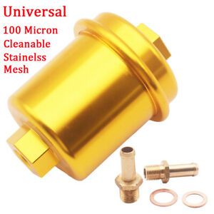 Gold Car Inline Fuel Filter High Flow 100 Micron Cleanable Stainelss Mesh New