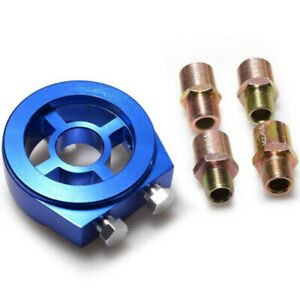 Oil Filter Sandwich Sensor Adapter Oil Cauge Plate Kit 3 4 16 Billet Blue