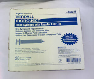 60cc 60ml Kendall Monoject Luer Tip Plastic Disposable Syringes 20 Count Box