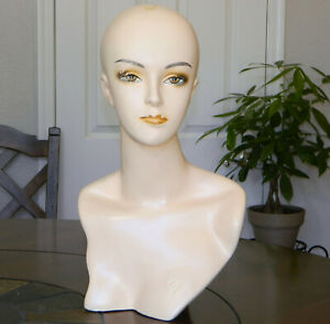 Female Mannequin Head bust Retail Wig hat scarf necklace Display Vtg Bj Painted