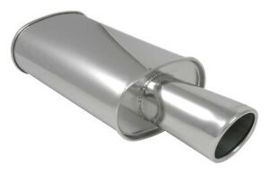 3 Inlet Vibrant Streetpower Stainless Oval Muffler W 4 Angle Tip 1042