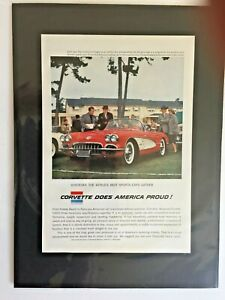 1958 Chevrolet Corvette Gm Print Car Ad ready To Display Gift 1959 1957