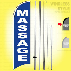 Massage Windless Swooper Flag Kit 15 Feather Banner Sign Bb h