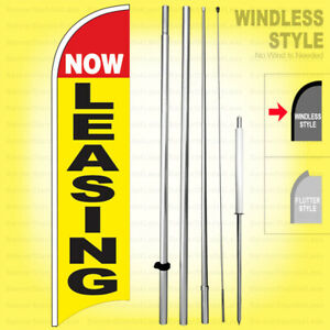 Now Leasing Windless Swooper Flag Kit 15 Feather Banner Sign Yb h