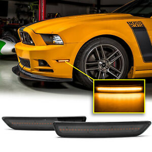 Smoked Lens Front Side Marker Lamps Amber Led Lights For Ford Mustang 2010 2014