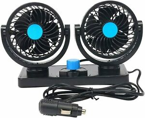 12v Auto Cooling Air Circulator Dual Head Fan For Van Suv 360 Rotation 2 Speed