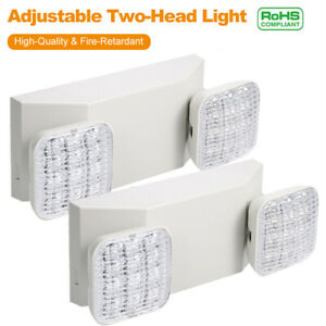 2x Led Emergency Exit Light Adjustable 2 Head Hardwired W Battery Back up D2f1