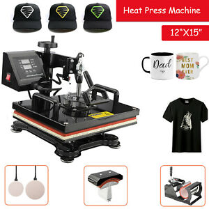 5 In1 Combo Heat Press Transfer Printing Machine Diy T shirt Hat Mug Plate 12x15