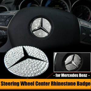 For Mercedes Benz Steering Wheel Rhinestone Badge Interior Trim Emblem 1 92 Inch