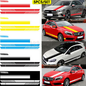 5pcs Long Stripe Graphics Car Racing Side Body Hood Mirror Vinyl Decal Sticker