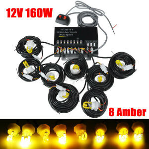 Amber 160w 8 Hid Bulbs Hide Away Hazard Emergency Warning Strobe Light Kit Us