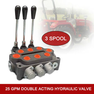 3 Spool 25 Gpm Tractor Loader Double Acting Hydraulic Directional Control Valve