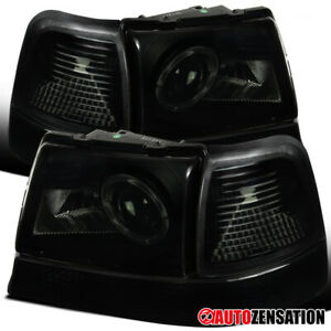For 98 00 Ford Ranger Black Smoke Halo Projector Headlights corner Signal Lamps