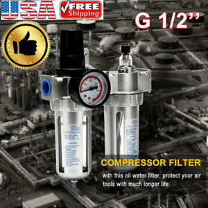 G1 2 Air Compressor Filter Oil Water Separator Trap Tool With regulator Gaugxi