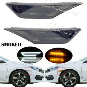 Smoked Led Side Marker Light For 2016 2020 Honda Civic Turn Signal Drl Lamp Kit