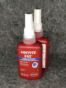dn Lot Of 2 Loctite 242 50 Ml Threadlocker Blue Medium Strength 1 4 3 4