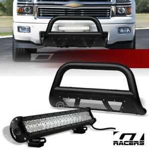 For 11 19 Silverado sierra 2500 Textured Blk Studded Mesh Bull Bar 120w Cree Led