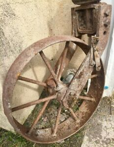 Rustic Garden Decor Old Farm Wheel Once Some Type Of Old Hand Plow