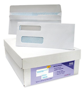 500 Box 9 Ready seal Double Window Security Tinted Check Envelopes Compatible
