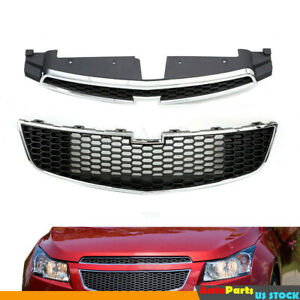 Front Bumper Upper Lower Grill Grille Fit For 2011 2012 2013 2014 Chevy Cruze