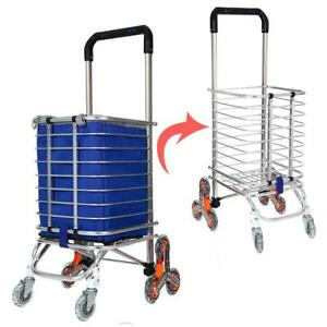 Shopping Cart Foldable Jumbo Basket Grocery Laundry Stair Climbing With Wheels