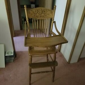 Antique Victorian Carved Oak Caned High Chair Nice 1900