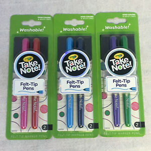 Lot Of 3 New 2pk Crayola Take Note Felt Tip Washable Marker Pens 6 Colors In All