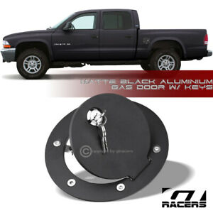 For 1994 2002 Dodge Ram 97 05 Dakota Matte Blk Aluminum Fuel Gas Door Cover Lock