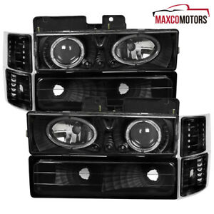 For 94 98 Chevy C k C10 Black Halo Projector Led Drl Headlights Corner Lamps 8pc