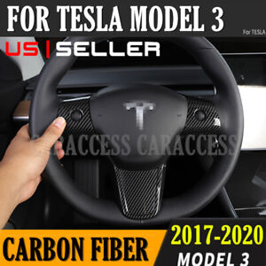 For Tesla Model 3 Steering Wheel Mouldings Carbon Cover Trims Accessories 17 20