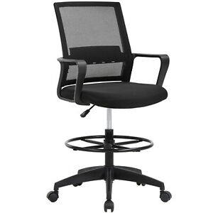 Drafting Chair Tall Office Chair Adjustable Height With Lumbar Support Arms Foot