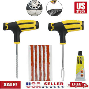 Car Tubeless Tyre Tire Puncture Repair Plug Repair Kit Needle Patch Fix Tools Us