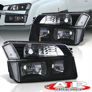 Black Clear Turn Bumper Head Lights Lamps Lh rh For 2002 2006 Avalanche Cladding