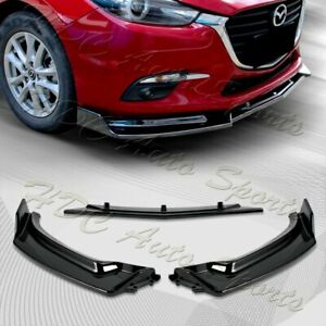 For 2014 2018 Mazda 3 Axela Painted Black Front Bumper Body Kit Spoiler Lip 3pcs