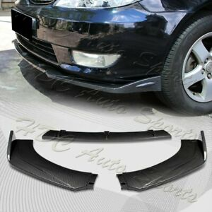 Universal Carbon Look Front Bumper Protector Body Kit Splitter Spoiler Lip 3pcs