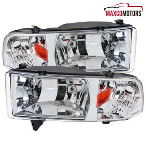For 94 01 Dodge Ram 1500 2500 3500 1 Piece Headlights Pair 95 96 97 98 99 00