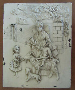 Vint Antique Wall Fireplace Tile Inset Relief Victorian Scene Mother Child Goat