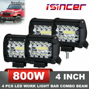 800w 4inch 4pcs Cree Led Work Lights Spot Flood Combo Offroad Suv Driving Light