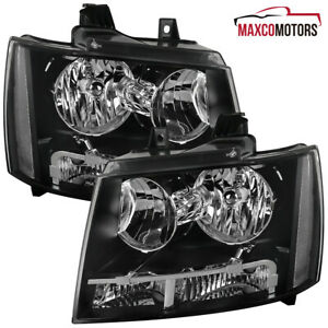 For Black 2007 2014 Chevy Avalanche Suburban Headlights Signal Parking Lamp Pair